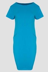 Sukienka dzienna 40-54 dresowa TURKUSOWA D-041 DUŻE ROZMIARY