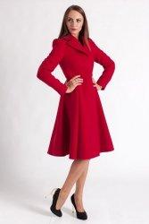 Finezyjny  rozkloszowany płaszcz PLA021 Red