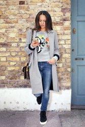 Szary płaszcz damski dresowy 256 Grey