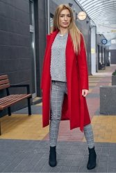 Wiosenny płaszcz z paskiem Bella PLA035 Red
