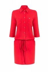 Sukienka casual z koszulową górą 144r Red