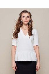 Elegancka bluzka z baskinką GR1350 White