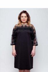 Elegancka dzianinowa sukienka wykończona koronką TR1788 Black