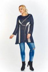 A'la sweterkowa, tkana tunika o asymetrycznym dole z ciekawym wzorem - listki i gałązki