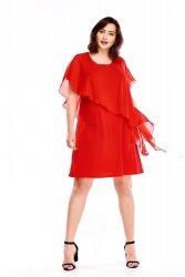Sukienka42-52  z asymetryczną narzutką