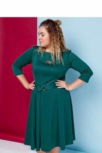 Elegancka rozkloszowana sukienka z modnym paskiem TR1642_1 Szmaragdowy
