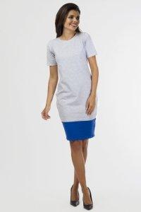 Sukienka dzianinowa B-033 Gray Melange/Cornflower
