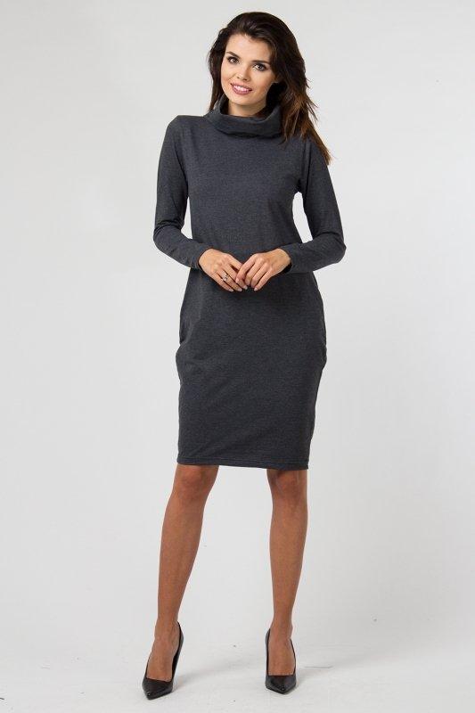 13d744140ce5a5 Sukienka dzianinowa K-040 Graphit - Sukienki dzienne - Sukienki ...