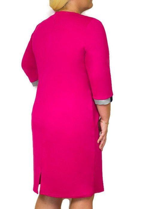 Elegancka-sukienka-xl-XXL-plus-size-dla-puszystych-OTA 46-54-PINK-wyszczuplajaca-do-biura-chrzest-komunia-wesele-fuksja-pink-tyl