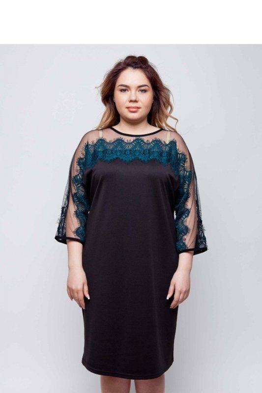 Elegancka-dzianinowa-sukienka-wykończona-koronką-TR1788-Green-sukienka-plus-size-XXL-duze-rozmiary-online-sklep-internetowy