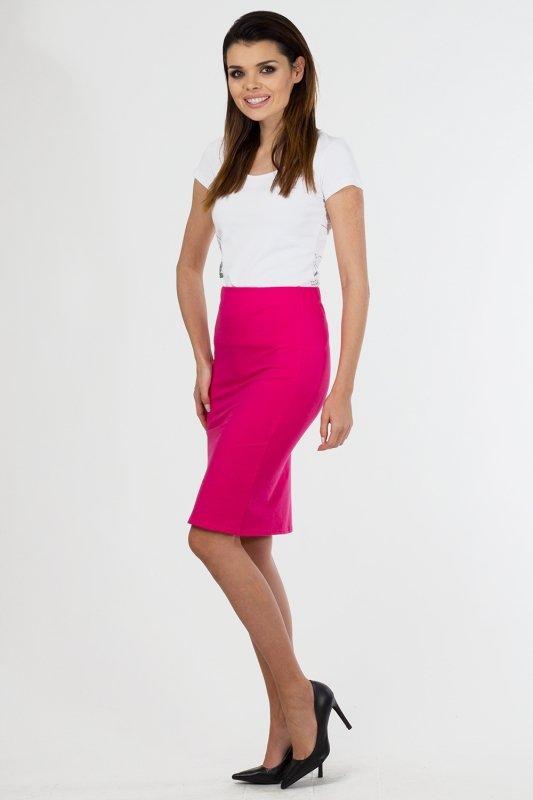 Spodnica-damska-36-46-dzianina-S-011-FUKSJA-do-pracy-plus-size