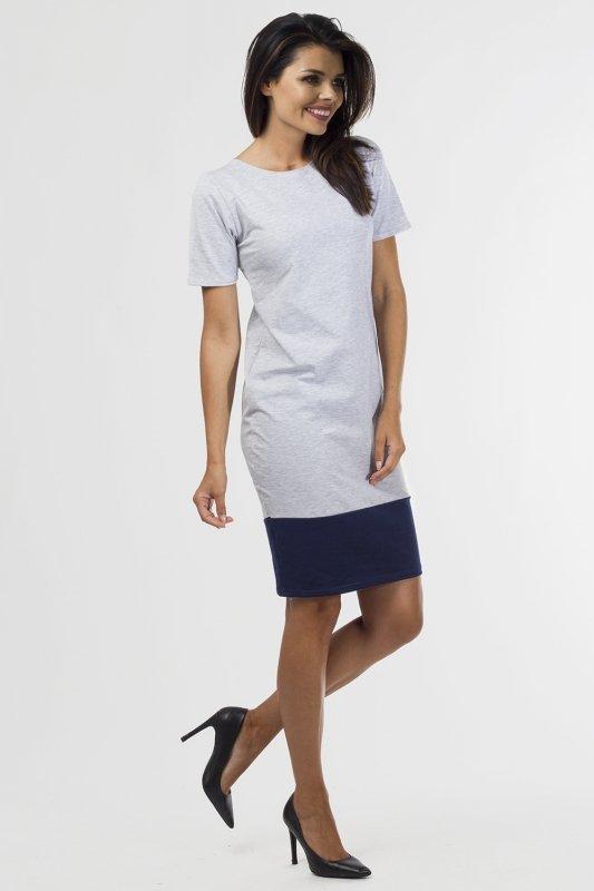 Sukienka dzianinowa B-033 Gray Melange/Navy