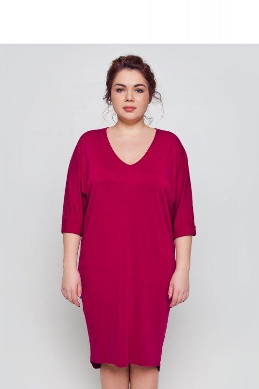 Sukienka-dzienna-plus-size-dla-puszystych-xl-xxl-48-52-Liliowa-przod