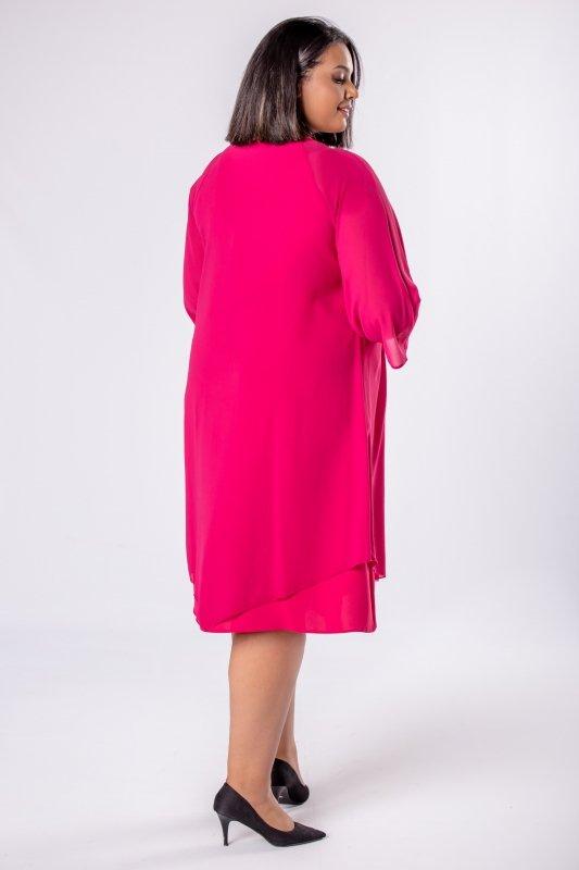 Elegancka-sukienka-xl-xxl-wizytowa-na-wesele-chrzest-komunia-IREXA-trapezowa-roz-fuksja-luzna-tyl