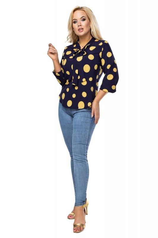 Elegancka-bluzka-damska-plus-size-dla-puszystych-KALINA7-o-koszulowym-kroju-xl-xxl-grochy-do-biura-chrzest-bierzmowanie-komunia
