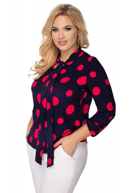 Elegancka-bluzka-damska-plus-size-dla-puszystych-KALINA-o-koszulowym-kroju-xl-xxl-grochy-do-biura-chrzest-bierzmowanie-komunia