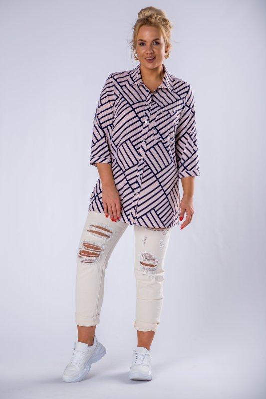 bluzka o koszulowym kroju w paski z kieszenią na biuście