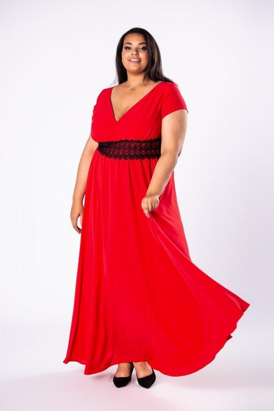 Sukienka maxi SABA z czarną koronką pod biustem