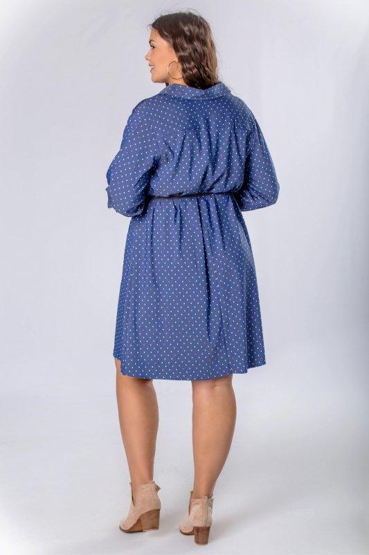 Sukienka szmizjerka BOHO z paskiem
