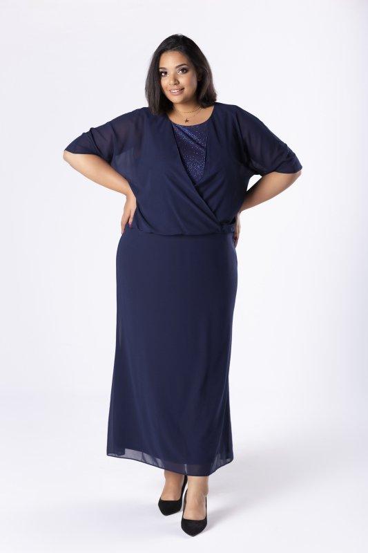 Suknia maxi tiulowa z narzutką imitującą bluzkę