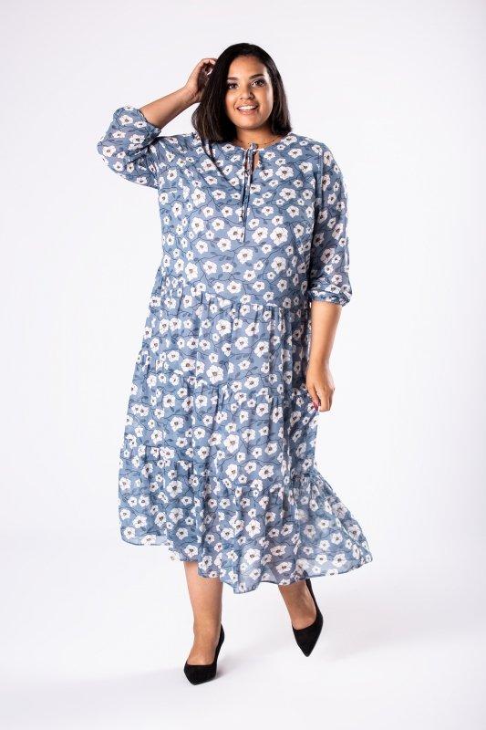 Tiulowa suknia maxi FABIANA falbany