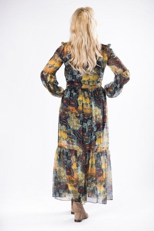 tiulowa sukienka maxi z wiązaniem przy szyi, bufiastymi rękawami i falbankami