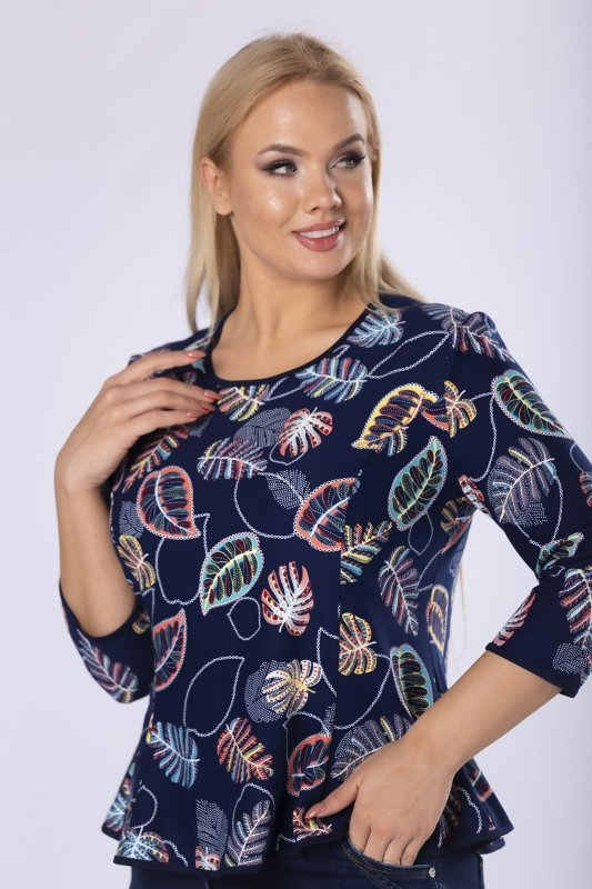dopasowana bluzka we wzory z ekspresem na plecach