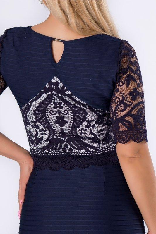 Sukienka koktajlowa LIRA koronkowe rękawy