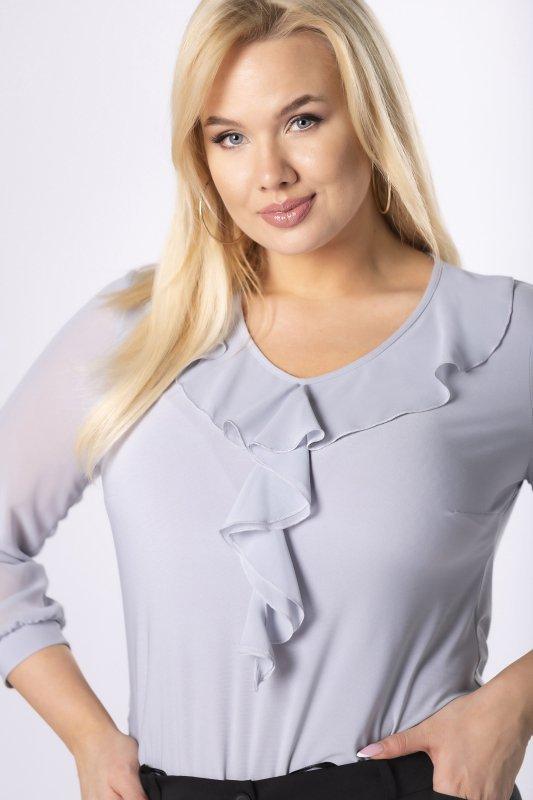 Bluzka FABIA z falbankami na biuście i tiulowymi rękawami