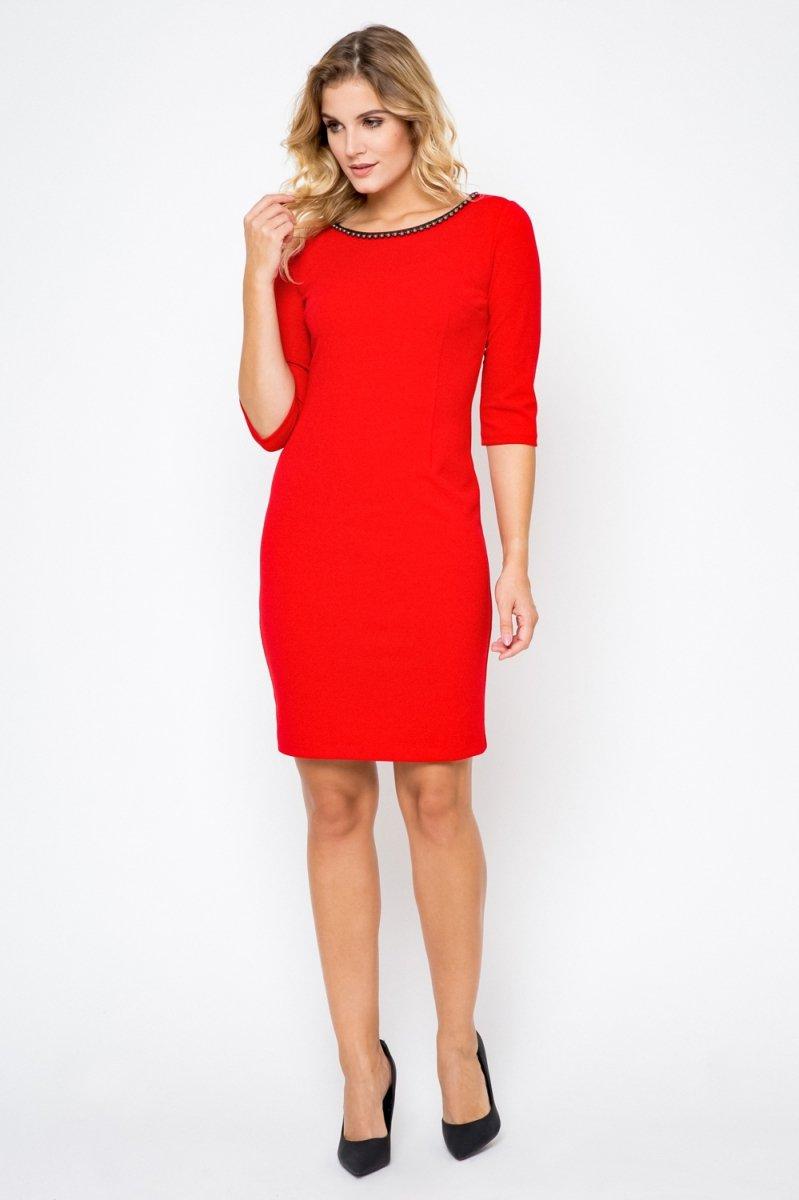 3760ed2851 Elegancka sukienka XXL 40-54 PLUS SIZE perełki midi Duże rozmiary ...