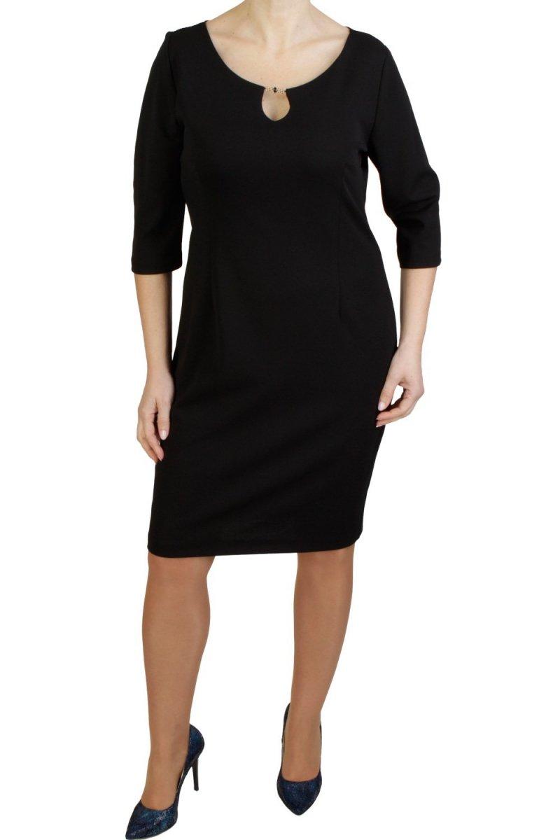 Elegancka-sukienka-xl-xxl-dla-puszystych-plus-size-KARIBA-40-54-do-kolan-czarna-czern