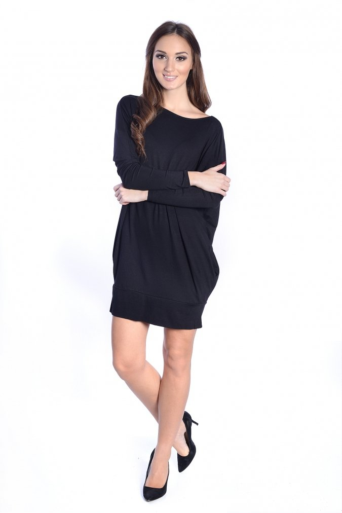 Sukienka-dzienna-plus-size-xl-xxl-tunika-LARA-dla-puszystych-OVERSIZE-wiazana-czarna-przod