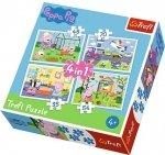 TREFL Puzzle 4 w 1 Świnka Peppa, Wspomnienia z wakacji (34316)