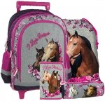 ZESTAW 4 el. Plecak szkolny na kółkach I Love Horses KONIE (PL15KKO13)