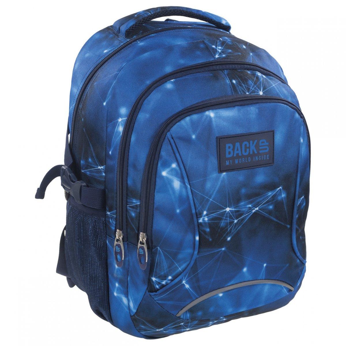 fe6225e4665ba Plecak szkolny młodzieżowy Back UP niebieskie wzory BLUE NET (PLB1F47)