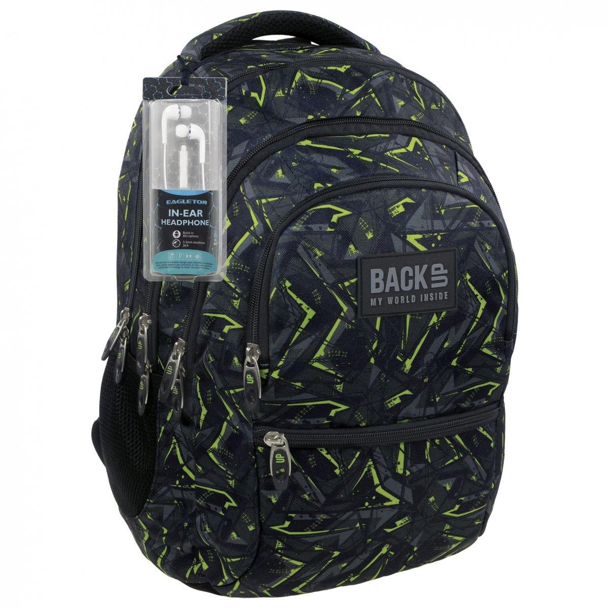 4e4395f2f7eee Plecak szkolny młodzieżowy Back UP zielone wzory GREEN SCRATCH + słuchawki  (PLB1C31)