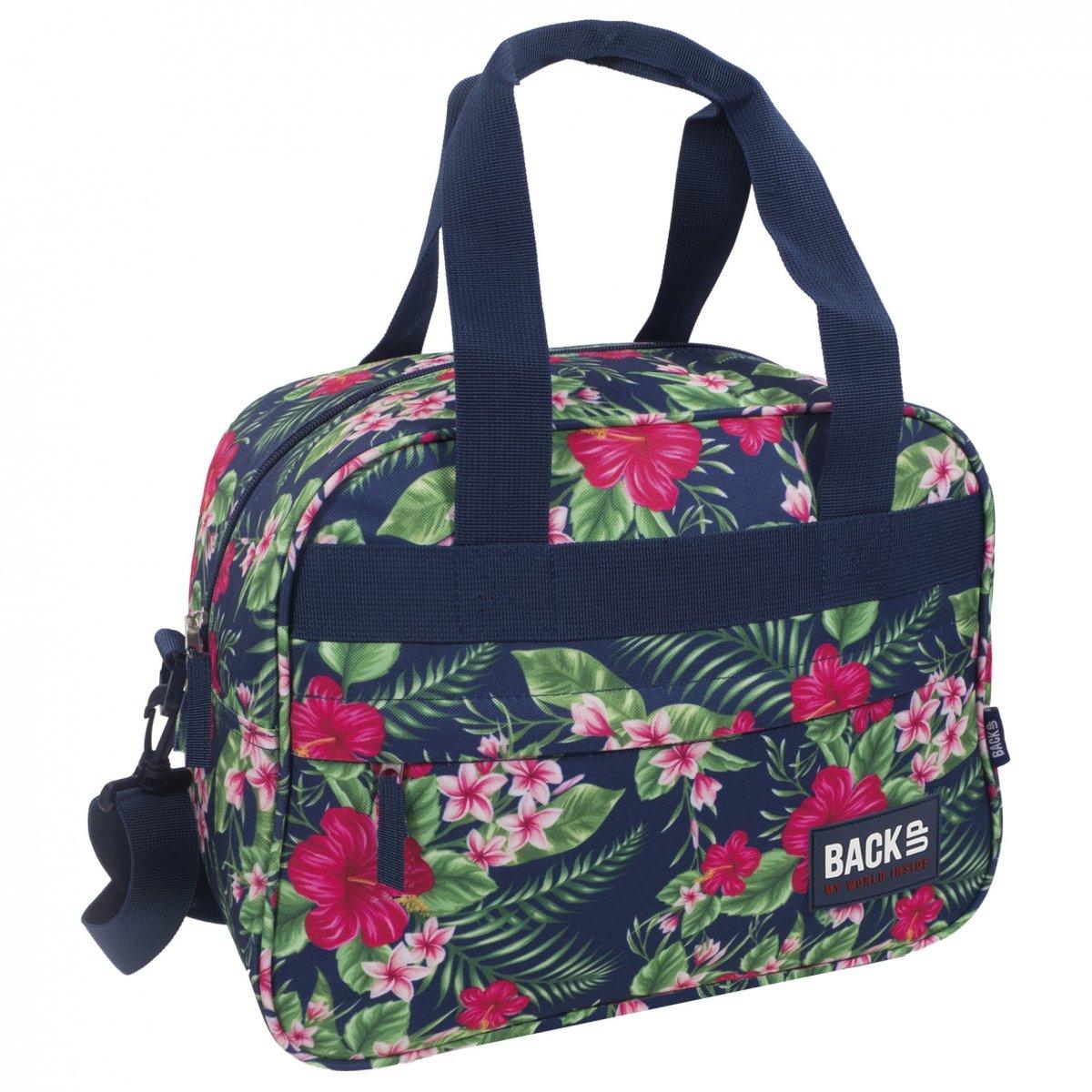 e35c0d2255ba3 Torba podróżna, sportowa Back UP różowe kwiaty na granatowym tle TROPICAL  FLOWERS (TPB1A12)