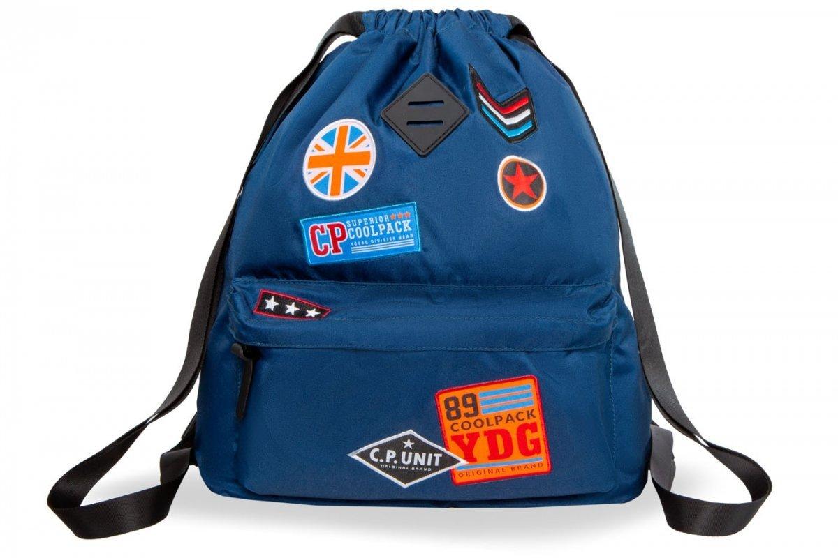b246271299acf Plecak Sportowy Worek na sznurkach CoolPack URBAN niebieski w znaczki,  BADGES BLUE (B73053)