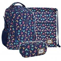 ZESTAW 3 el. Plecak HASH w kolorowe ptaszki, KOLIBER HS-45 (502019041SET3CZ)