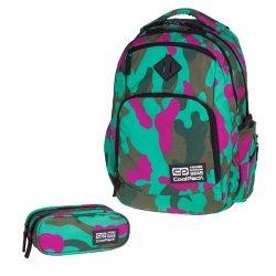 ZESTAW 2 el. Plecak CoolPack BREAK 2 zielono - różowe moro, CAMOUFLAGE EMERALD 868 (76548SET2CZ)