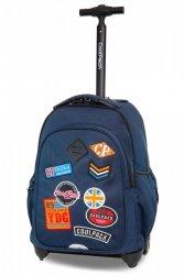 Plecak CoolPack JUNIOR na kółkach niebieski w znaczki, BADGES BLUE (B28053)