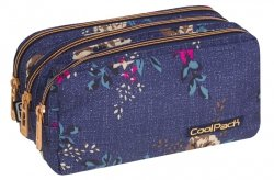 Piórnik trzykomorowy saszetka COOLPACK PRIMUS kwiaty na dżinsowym tle, BLUE DENIM FLOWERS (86278CP)
