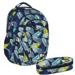 ZESTAW 2 el. Plecak szkolny młodzieżowy ST.RIGHT w tropikalne liście, TROPICAL LEAVES BP2 (22830SET2CZ)