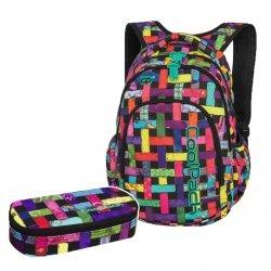 ZESTAW 2 el. Plecak CoolPack PRIME kolorowa przeplatanka, RIBBON GRID + gratis (87902CPSET2CZ)