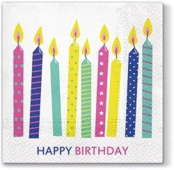 Serwetki dekoracyjne HAPPY CANDLES Urodzinowe świeczki 33x33 cm (TL698000)