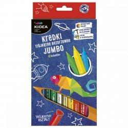 Kredki trójkątne bezdrzewne grube 12 kolorów KIDEA (KTBJ12KA)