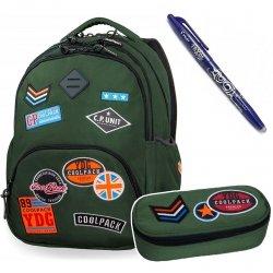 Plecak szkolny 30L+ Piórnik Coolpack BADGES GREEN + Frixion (B24054SET)