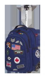 Plecak szkolny młodzieżowy na kółkach COOLPACK JUNIOR niebieski w znaczki, BADGES NAVY