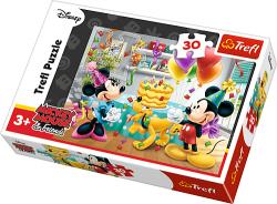 TREFL Puzzle 30 el. Myszka Minnie i Mickey, Tort urodzinowy (18211)