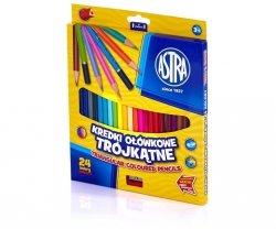 Kredki ołówkowe trójkątne 24 kolory z temperówką ASTRA (60450)